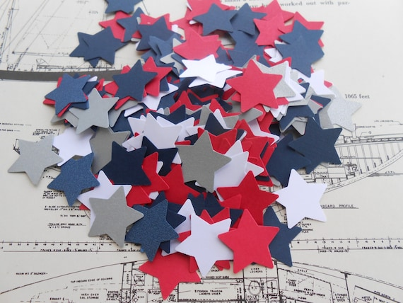 500 Star Confetti. Navy, Silver, Red, Metallic Blue, White. Or CHOOSE YOUR COLORS. 1 inch. Custom Orders Welcome.