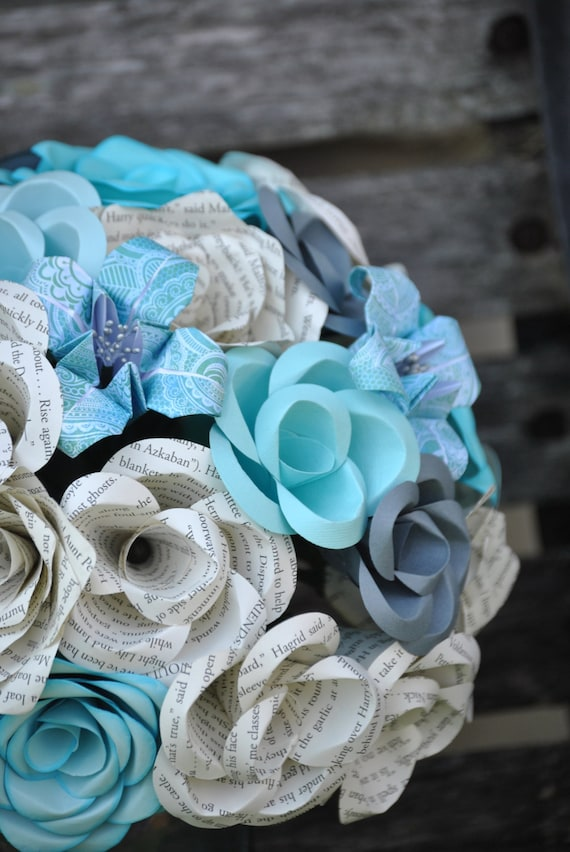 Custom Paper Flower Wedding Bouquet. You Pick The Colors, Papers, Books, Etc.  Anything Is Possible. Bridal, Bridesmaid, Toss.
