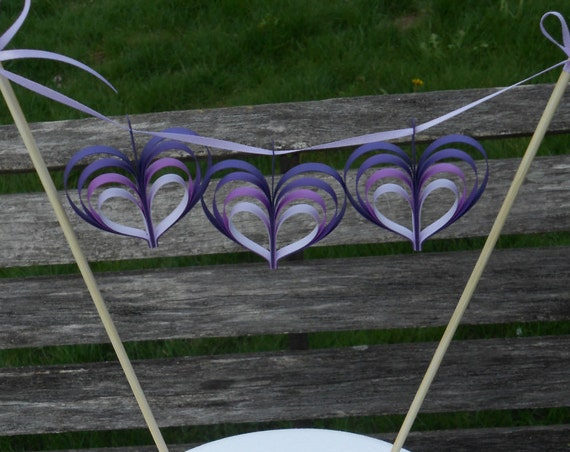 Heart Cake Garland, CHOOSE YOUR COLORS. Cake Toppper. Weddings, Decoration, Layered 3-D. Purple, Lavender, Lilac