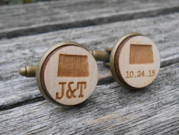 Personalized State Cufflinks, Monogram, Wedding Date.  Anniversary, Groom Gift, Groomsmen, Dad, 5th. Letter, Initials