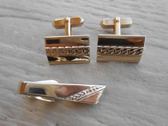 Vintage Gold Cufflinks & Tie Clip.  Christmas, Wedding, Groom, Groomsmen Gift, Dad.