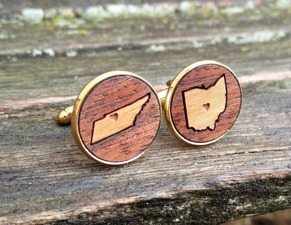 Wood Inlay State Cufflinks. Laser Engraved. Wedding, Men's, Groomsmen Gift, Dad. Custom Orders Welcome. Wine, LA, San Francisco