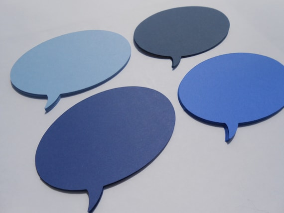 50 Speech Bubbles, Oval Shaped. 4.25 inch. Your Choice Of Colors. Birthdays, Weddings, Favor, Gift.