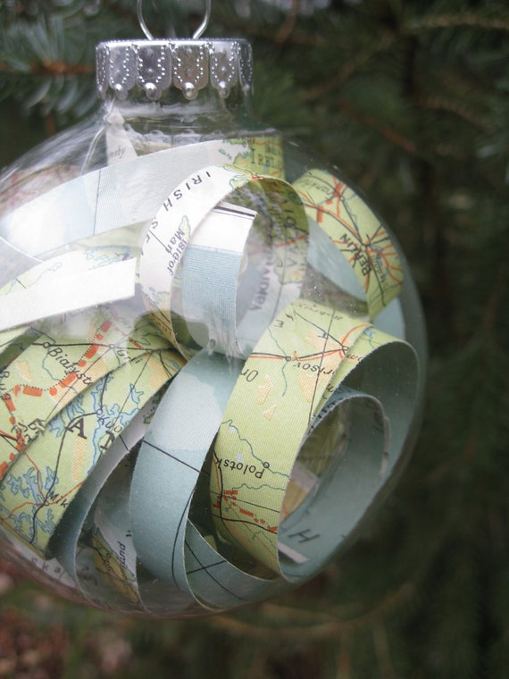 Vintage Map Glass Ornament. Perfect GiFt. Unique, Christmas, Holiday, Anniversary.