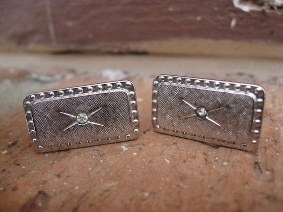 SALE: Vintage Silver & Rhinestone Cufflinks. Wedding, Men's, Groomsmen Gift, Dad. CUSTOM ORDERS Welcome