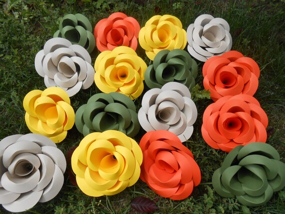 HUGE Paper Roses. 6 Inch. CHOOSE Your COLORS.  Wedding Decoration. Custom Orders Welcome.