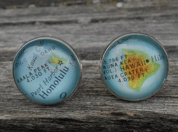 Vintage HAWAII MAP Cufflinks. Birthday Gift, Wedding, Men's Christmas Gift, Dad. Silver Plated. Custom Orders Welcome.