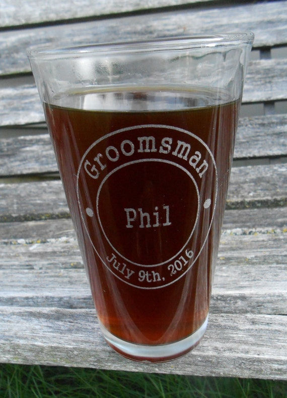 Personalized Pint Glasses. Wedding, Groomsmen Gift, Dad. Laser Engraved Beer Pilsner Glass. Party Favor, Wedding Favor, Custom