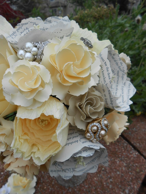 Custom Paper Flower Wedding Bouquet. You Pick The Colors, Papers, Books, Etc.  Anything Is Possible. CUSTOM ORDERS WELCOME
