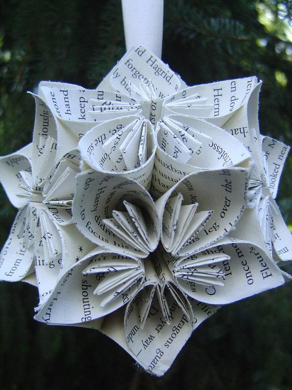 BOOK Kusudama Ball. Home Decor, Valentine Gift, Paper Flowers. Custom Orders Welcome.