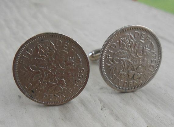 SIX PENCE Coin Cufflinks. Wedding, Groom, Groomsmen Gift, Valentine, Dad, Anniversary, Birthday. Christmas. Lucky, Coin, Something Old.