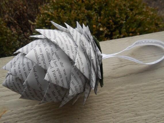 PRIDE & PREJUDICE Paper Pinecone Ornament. Decoration, Christmas, Gift, Birthday, Anniversary, Wedding. Austen, Darcy