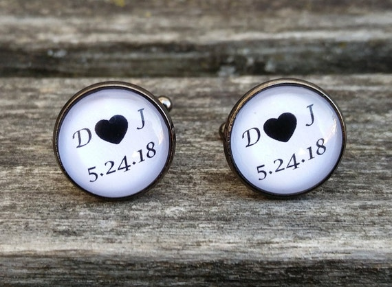 Personalized Wedding Cufflinks. Groomsmen, Groom, Anniversary Gift, Monogram, Letter, Date.