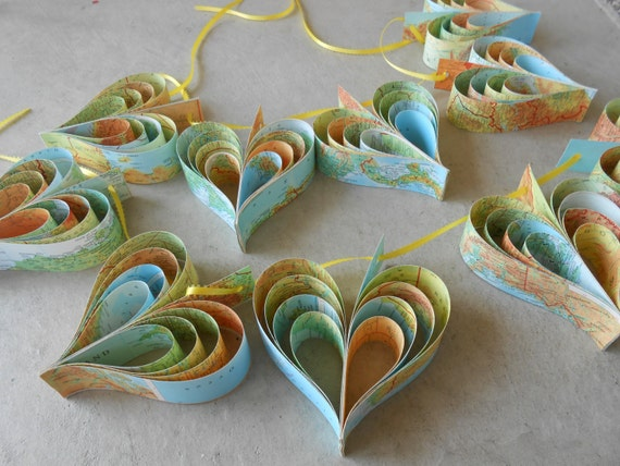 TWO Garlands Of MAP HEARTS. 10 Hearts. Wedding, Shower Decoration, Home Decor. Custom Orders Welcome. Any Color Available.