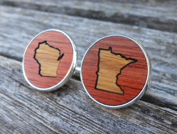 Wood State Cufflinks. CHOOSE YOUR STATES! Laser Engraved. Wedding, Men's, Groomsmen Gift, Dad. Inlay Custom Orders Welcome.