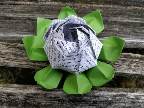 Your Wedding Vow Origami Lotus. Anniversary Gift, Wedding Decoration, Favor.