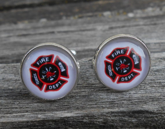FIREFIGHTER Maltese Cross Cufflinks. Wedding, Men's Christmas Gift, Dad. Silver Plated. Custom Orders Welcome.