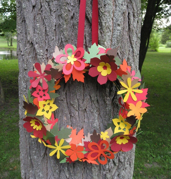 Fall Wreath, CHOOSE YOUR COLORS. 12 inch. Wall, Room, Door Decor. Custom Orders Welcome.