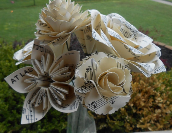 Sheet Music Custom Bouquet. CHOOSE YOUR SONG! Valentine's, Anniversary, Wedding, Centerpiece, Gift For Mom.