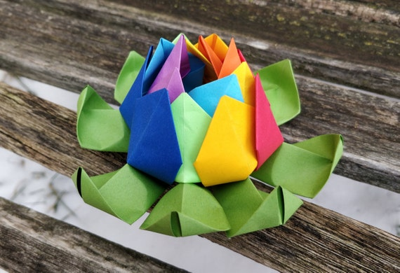 Rainbow Origami Lotus. Unique Gift, Anniversary, Favor. Just Because. Gay Pride