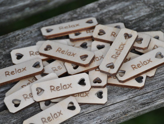 "25 ""YOUR CHOICE"" Tags, Choose Your Words!!!  Laser Engraved Wood. Crochet Tag. Custom Orders Welcome. Relax"