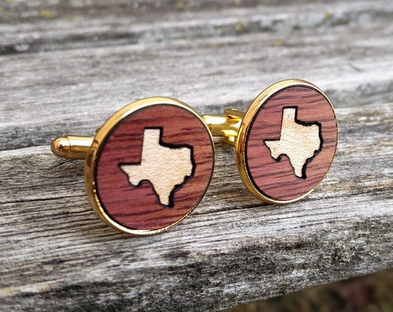 Custom State Cufflinks. Wood Inlay. Groom, Wedding, Groomsmen Gift, Dad, Anniversary, Birthday, Father of the Bride. Rose Gold, Silver.