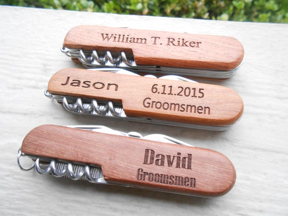 Custom Pocket Knife, Laser Engraved Wood. Wedding, Men, Groomsmen Gift, Dad, Anniversary. Knives.
