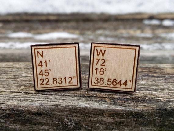 Custom Coordinate Cufflinks. Personlized Monogram. Wedding, Men, Groom Gift, Fifth Anniversary Gift, Valentine's Day. Wood. Groomsmen