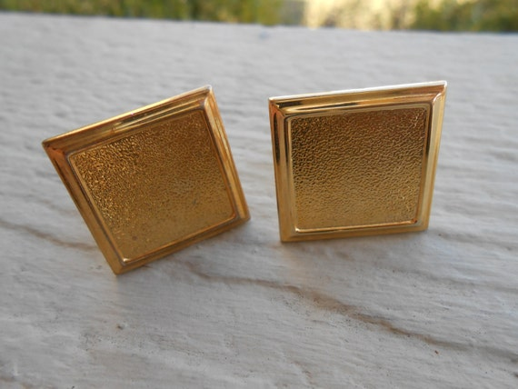 Vintage Gold Square Cufflinks. Wedding, Anniversary, Groomsmen Gift, Groom, Birthday.