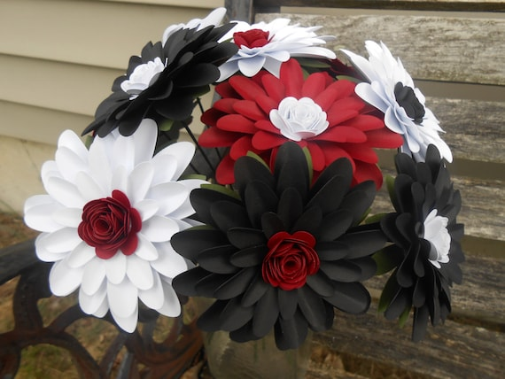 Gerber Daisy Paper Flower Bouquet. Black, Red, & White. Centerpiece, Wedding, Anniversary, Birthday, Mother's Day, Gift