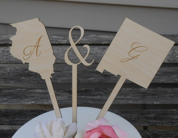 BRIDE & GROOM States Cake Topper.  Laser Engraved, Name, Date. Custom Orders Welcome. Monogram, Letter.