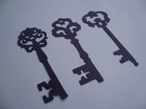 50 Skeleton Keys. 3.5 inch. CHOOSE YOUR COLORS. Escort Cards, Wedding, Wishing Tree, Cards, Etc.
