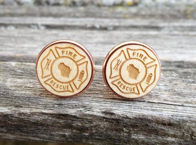 Firefighter Maltese Cross Cufflinks Silver Plated CHOOSE YOUR STATE Laser Engraved Dad Wedding Texas Men/'s Christmas Gift
