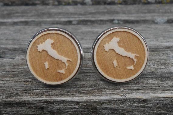 Italy Wood Cufflinks. Laser Engraved. Wedding, Men's, Groomsmen Gift, Dad. Custom Orders Welcome. Map, Country, Custom. Rome, Venice