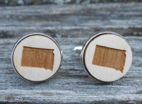 Wood STATE Cufflinks. SOUTH DAKOTA. Laser Engraved. Wedding, Men's, Groomsmen Gift, Dad. Custom Orders Welcome. Rushmore