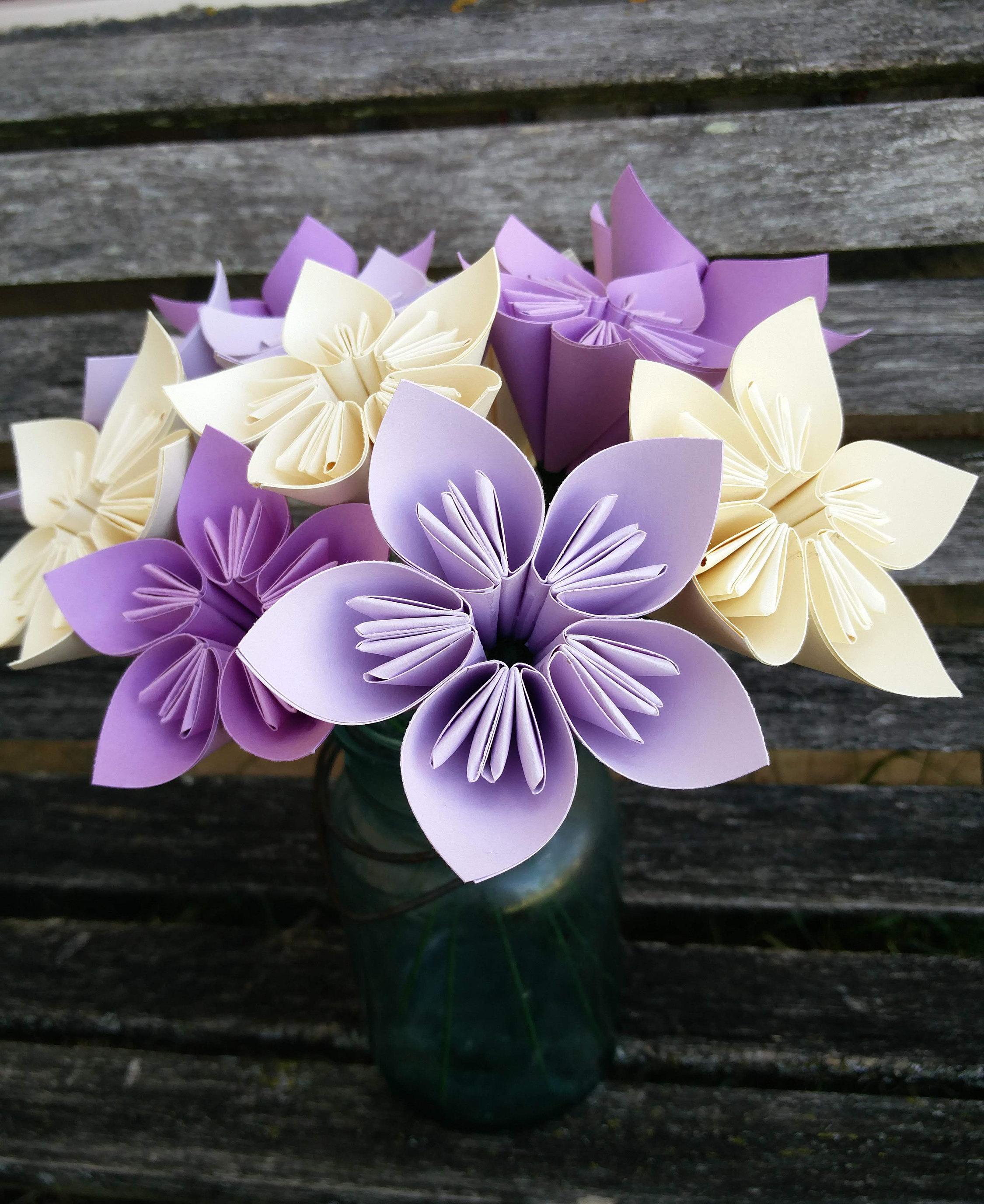 One Dozen Paper Flowers Choose Your Colors Anniversary