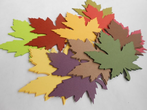 50 Maple Leaves, 4 Inch. CHOOSE YOUR COLORS. Escort, Wedding, Favor, Fall, Autumn. Place Card, Seating Card, Wishing Tree Tag