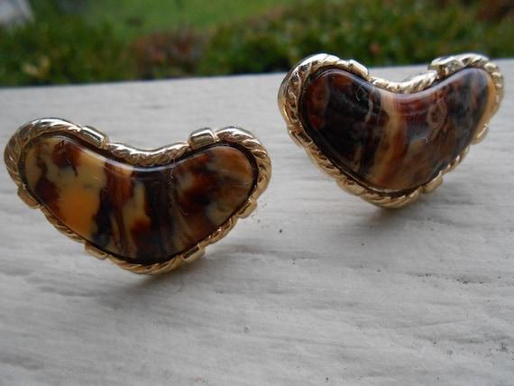Vintage Jasper HEART Cufflinks. Wedding, Groom, Groomsmen Gift, Dad. Stone.