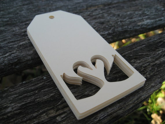 50 Swan Heart Tags. 4 x 2 inch. CHOOSE YOUR COLORS. Luggage Tag, Weddings, Seating, Place Card, Escort, Gift Tags. Custom Orders Welcome.