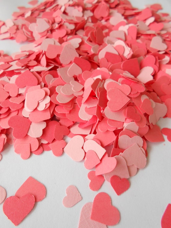 Over 2000 Mini Confetti Hearts. CORAL MIX. Weddings, Showers, Decorations. Pink