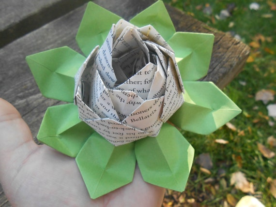 Book Origami Lotus. Gift, Wedding Decoration, Favor, First Anniversary. Custom Orders Welcome