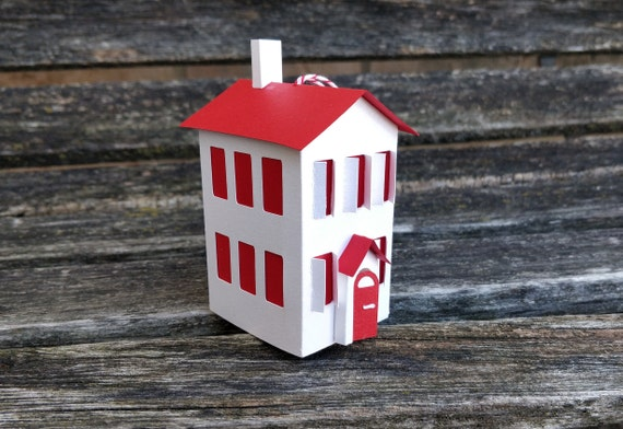 Paper House Ornament. Holiday, Christmas Decoration.  Paper House Ornament