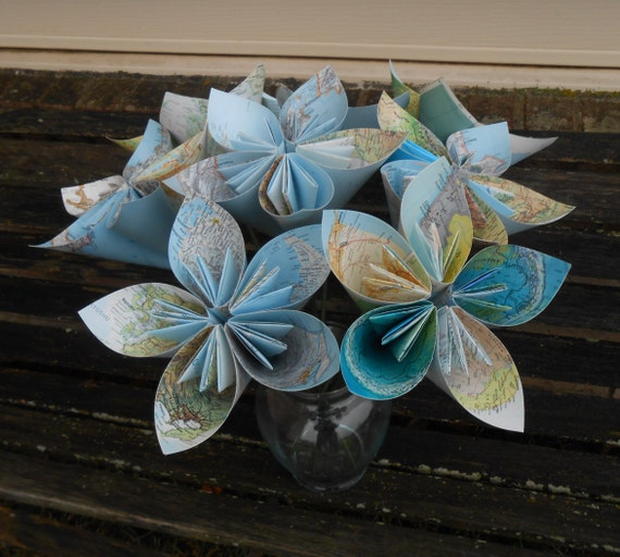 Huge Map Paper Flowers. Great For Weddings, Centerpiece, Decoration, Gift, Parties, Events. Travel Wedding.