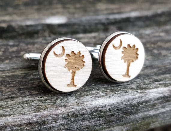 South Carolina State Flag Logo Cufflinks. Laser Engraved. Palm Tree, Moon. Wedding, Men's Christmas Gift, Dad. Silver Plated.
