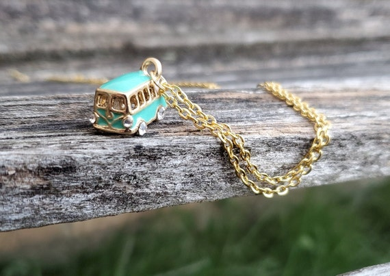 VW Bus Necklace. Gift For Mom, Dad, Kids, Anniversary, Birthday, Christmas.