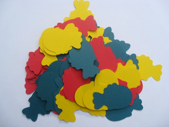 200 Fish Confetti. Red, Yellow, & Blue. Or CHOOSE Your OWN COLORS. Birthdays, Weddings, Showers. Custom Orders Welcome.