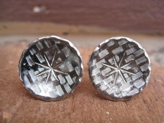 Vintage Silver Star Cufflinks. Wedding, Men's Gift, Dad, Groomsmen Gift.