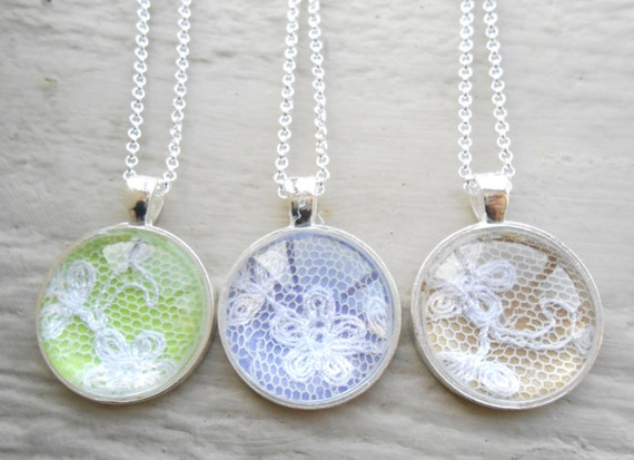 Your Wedding Dress Lace Necklace. Bridesmaid Gift, Mom Gift, CHOOSE Your Colors. Custom Orders Welcome.