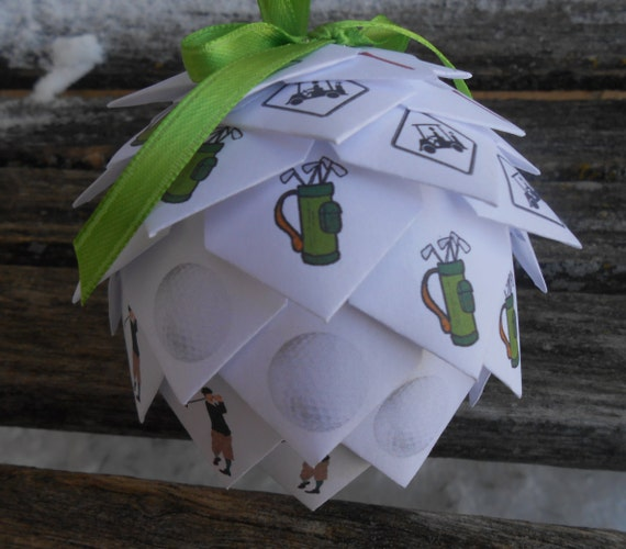 GOLF Paper Ball Ornament. Decoration, Christmas, Gift, Birthday, Anniversary, Wedding. Unique Gift. Mom, Dad, Husband