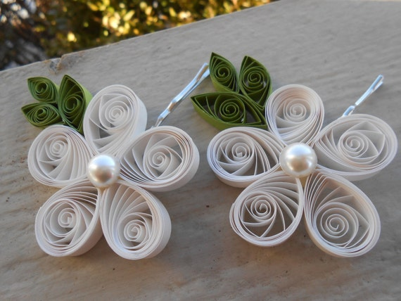 Bridal Hair Pin Flowers. CHOOSE YOUR COLORS. Wedding, Hair Piece. Quilled Flower. Bridesmaid, Flower Girl. Barette, Clip, Tiara